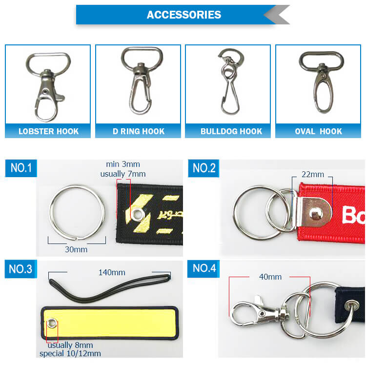 remove before flight embroidered keyring accessories and tape