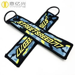 Both sides logo textile key ring personalized embroidered keychains