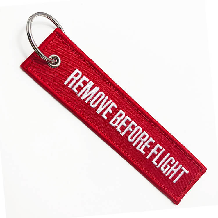 Personalize own brand logo name red remove before flight tag