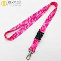 Polyester Material Lanyard Custom Heat Transfer Neck Pink Lanyard