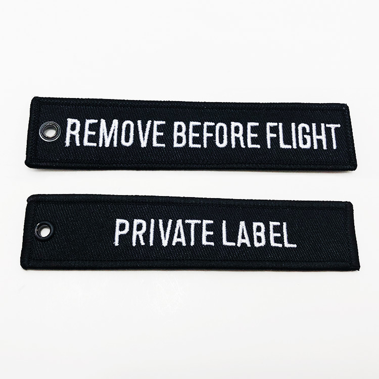 embroidered key tags