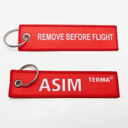Best flight tag double sided keychain custom woven
