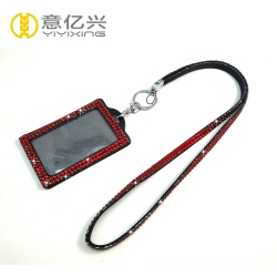 Hot sale red bling resin sparkly lanyards with id holder