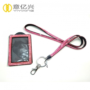 Wholesale pink bling diamante lanyard with id badge holder