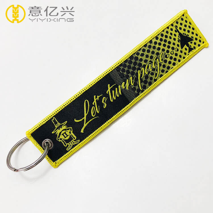 Custom color warning fabric personalized woven keychains