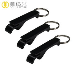 Wholesale blank black aluminum metal bottle opener keyring