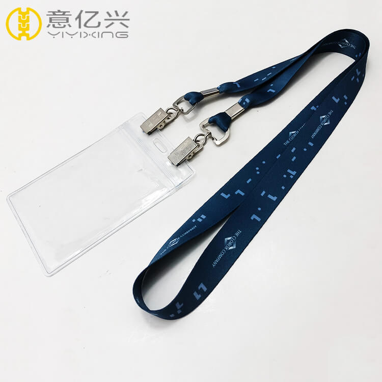Custom sublimation pvc id lanyard with double metal alligator hook