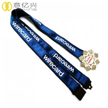 Custom high quality silkscreen printed polyester badge lanyards