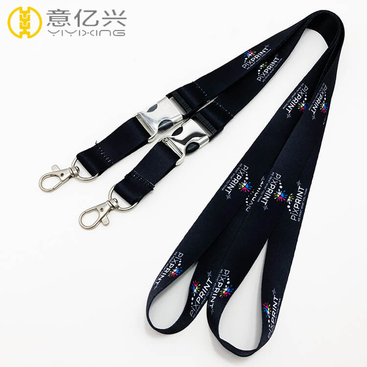 Wholesale Polyester Detachable Release Buckle Black Lanyard Strap