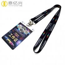 Custom wholesale polyester plain strap lanyard badge holder
