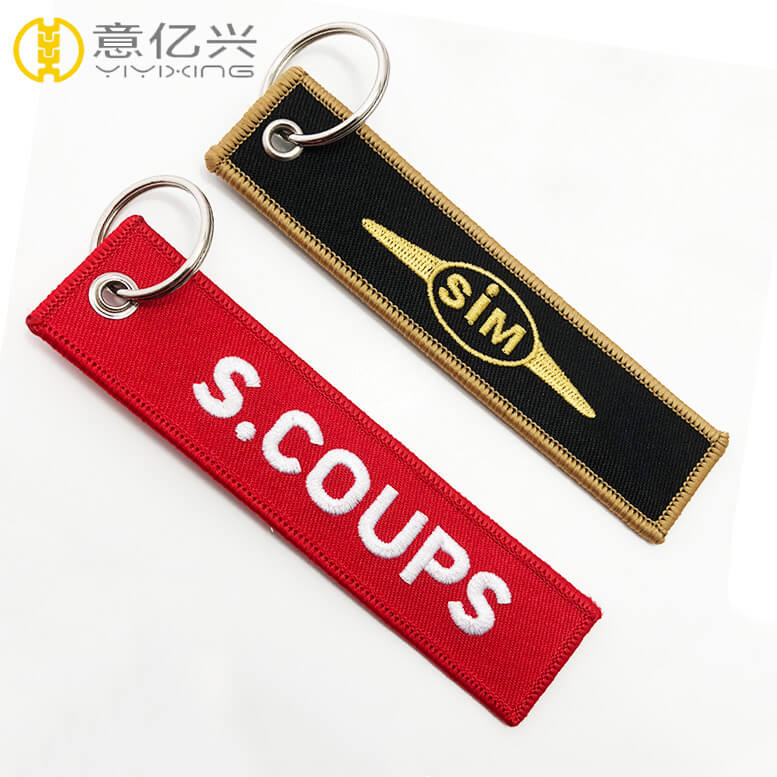 Personalized design embroidery lanyard keychains with names on them