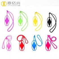 High quality silkscreen logo soft silicone lanyard for phone badge holder