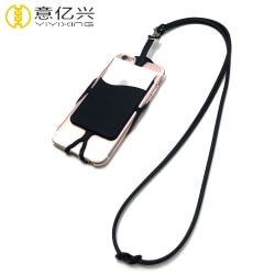 Cheap custom cool black silicone cell phone lanyard case