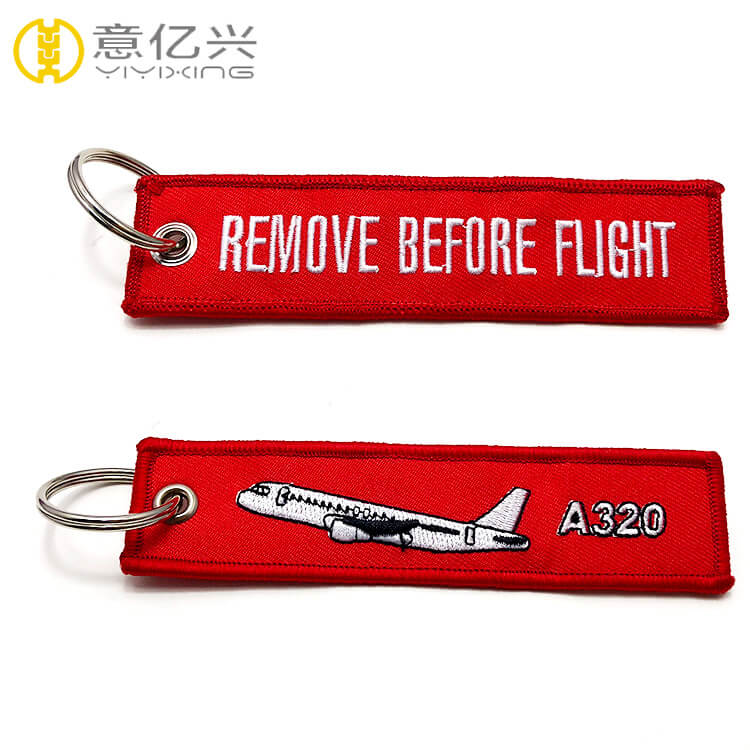 Manufacturer custom logo airline keychain embroidery designs