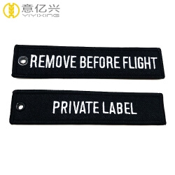 Promotional souvenir embroidery remove before flight key tag