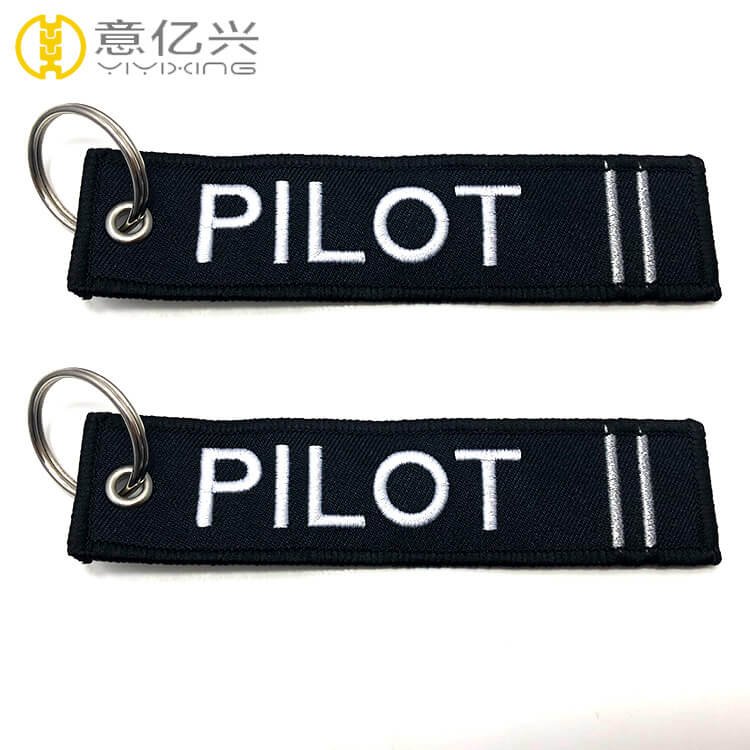 Airplane promotion custom embroidery logo pilot keychain