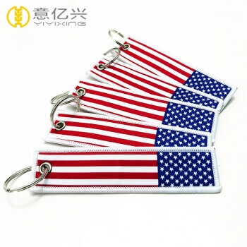 Promotion cheap customized USA Flag jet tag American keychain