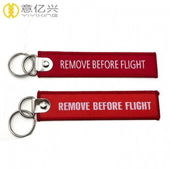 Cheap Jet Durable Woven Custom Flight Tag Keychain