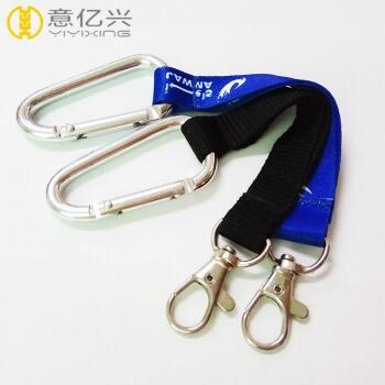 Factory price custom 65mm edc carabiner keychain with webbing