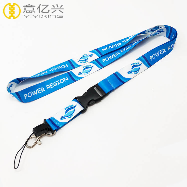 Custom polyester sky blue cheap printed lanyards