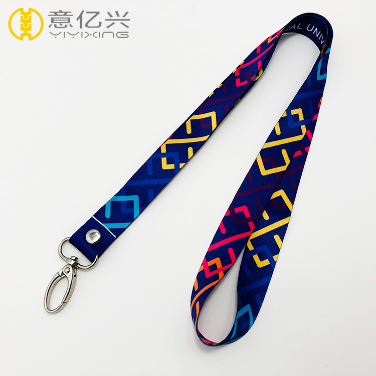 Custom cheap polyester key neck strap lanyard with oval hook
