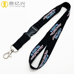 Promotional Custom Thick Ribbon Lanyard Keychain With Metal Snap Hook