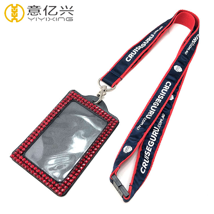 Custom printed name logo neck lanyards and badge holders for sports