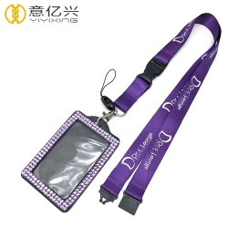 Cheap single silkscreen logo id badge holders and lanyards with logo