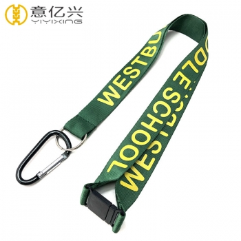 Printing neck strap green lanyard with plastic safety buckle