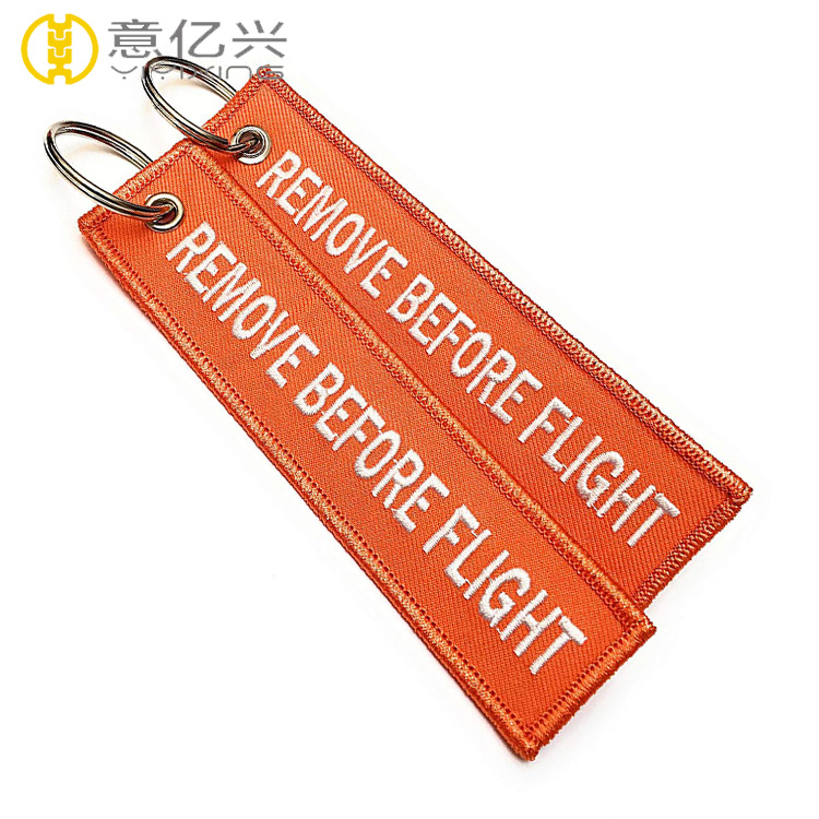 2019 hot selling high quality embroidered custom flight tag keychain