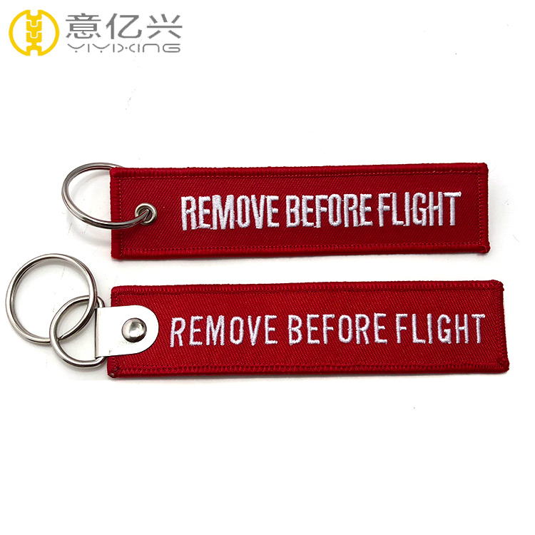Wholesale Cheap Custom Embroidered Remove Before Flight Keyring