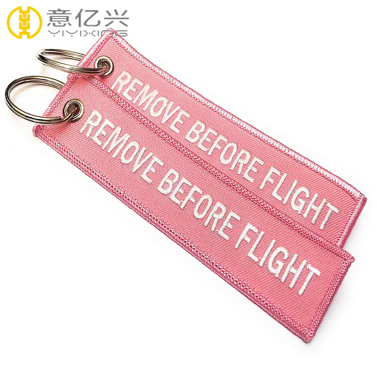 Wholesale fabric patch embroidery remove before flight keychain custom