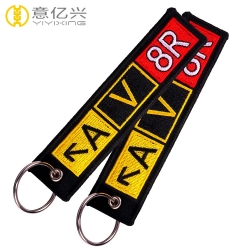 Custom Made Polyester Fabric Type Embroidered Personalized Keychains