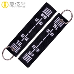 Double side textile embroidery cloth keychains with initials