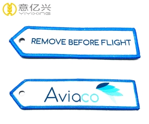 Woven Customized Double Sided Fabric Flight Tag Keychains For Airbus