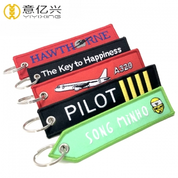 Custom Double Side Embroidery Tag Cheap Embroidered Keychain