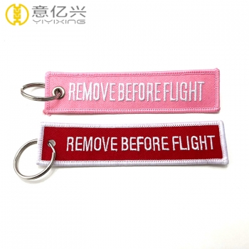 Double sided twill custom remove before flight tags with key rings