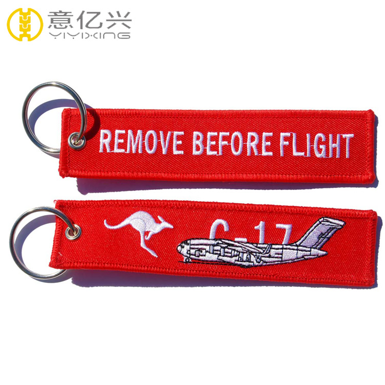 Customized Polyester Fabric Embroidery Fancy Function Airplane Keyring