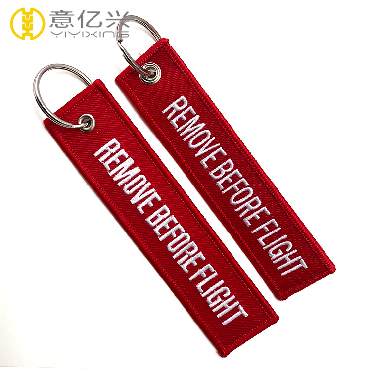 remove before flight embroidered keyring