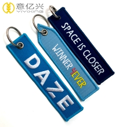Wholesale fabric embroidery Canada keychain with custom logo