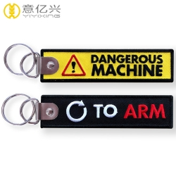 Promotional popular overlock key holder embroidery label keychains