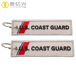 Fashion custom logo fabric embroidery lanyard keychain