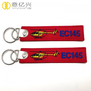 High Quality Custom Red Ribbon Embroidery Logo Jet Tag Keychain