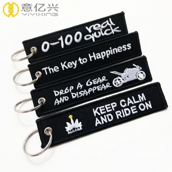 Custom badges fabric material letter embroidered ribbon keychains