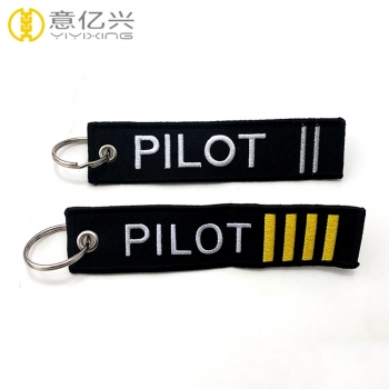 Custom Aviation Embroidered Logo Pilot Keyring for Airplane