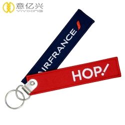 Promotional custom logo name embroidered tags personalized keychain