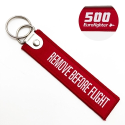 Polyester material fabric twill promotion remove before takeoff keychain