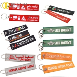 Polyester Twill Double Logo Design Fabric Woven Custom Keychains