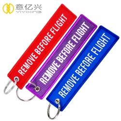 Custom cheap damask woven flight tag keychain for sale