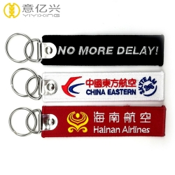Fashionable rectangle shaped customized personalized cloth keychains